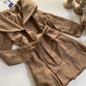 Chestnut Faux Wool Wrap-Tie Style Winter Pea Coat